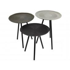 Lux - Bijzettafel - metaal - 41x41x50- rond- set van 3 -