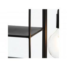 Lux - wandrek met lamp- zwart - metaal -45x10x47