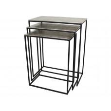 Lux - bijzettafel- zilver - aluminium - 53x29x66 - set van 3