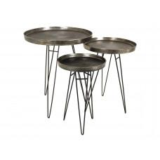 Lux - bijzettafel- grijs - aluminium -50x50x60- set van 3