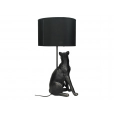 Lux - tafellamp luipaard- zwart- polyresin -25x25x53