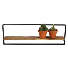 Lux - wandrek- zwart - metaal/hout -76x10x24