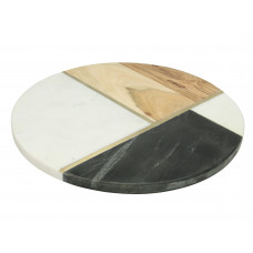 Lux - snijplank rond - multi- acaciahout / marmer - 30.5x30.5x1.5