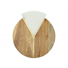 Lux - snijplank rond- acaciahout / marmer - 33x30.5x1.5