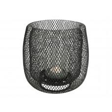 Lux - windlicht- zwart - metaal - 19x19x19