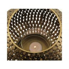Lux - windlicht- goud - metaal - 22.5x22.5x25