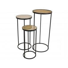 Lux - bijzettafel - metaal / geweven - 32x32x70 - set van 3