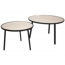 Lux - salontafel- metaal / geweven - 75x75x45 - set van 2