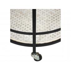 Lux - bijzettafel- metaal / geweven - 48x48x58