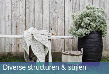 Diverse structuren en stijlen potten